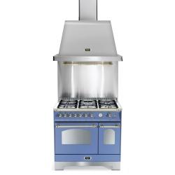Set Aragaz Lofra Dolcevita RLVD96MFTE/CI, 90x60cm, gaz, 5 arzatoare, cuptor dublu+Splash Back 90+Hota Dolcevita 90, albastru