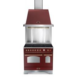Set Aragaz Lofra Dolcevita RRD96MFTE/5i, 90x60cm, gaz, 5 zone inductie, grill +Splash Back 90+Hota Dolcevita 90, rosu burgundy