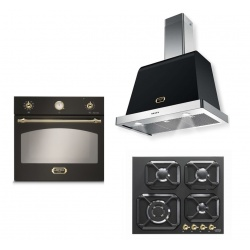 Set cuptor incorporabil LOFRA DOLCEVITA FRNM69EE + plita HRNM6G0 + hota Dolcevita 60 cm, negru mat