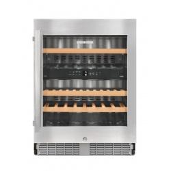 Vitrina vinuri frigorifica incorporabila Liebherr UWTes 1672, 94L, 2 zone temperatura, clasa B, Argintiu