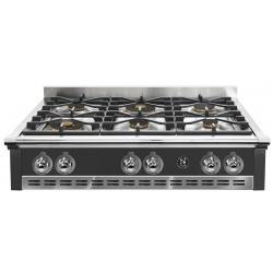 Plita incorporabila cooktop STEEL Ascot, 90 cm , 6 arzatoare, aprindere electrica, siguranta gaz, negru antracit