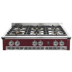Plita incorporabila cooktop STEEL Ascot, 90 cm , 6 arzatoare, aprindere electrica, siguranta gaz, visiniu
