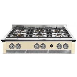 Plita incorporabila cooktop STEEL Ascot, 90 cm, 6 arzatoare, aprindere electrica, siguranta gaz, crem