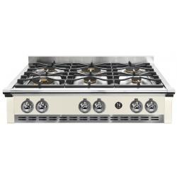 Plita incorporabila cooktop STEEL Ascot, 90 cm, 6 arzatoare, aprindere electrica, siguranta gaz, crem inchis