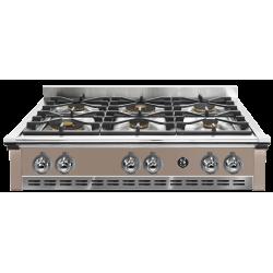 Plita incorporabila cooktop STEEL Ascot, 90 cm, 6 arzatoare, aprindere electrica, siguranta gaz, gri nisip
