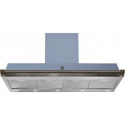 Hota decorativa STEEL Ascot 120, 120 cm, 1 motor, 4 viteze, 900 m3/h, panou control soft touch, inox / albastru