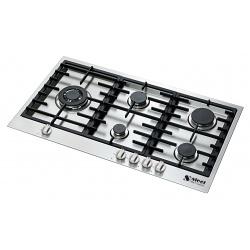 Plita incorporabila cooktop STEEL Ascot, 90 cm , 6 arzatoare, aprindere electrica, siguranta gaz, inox
