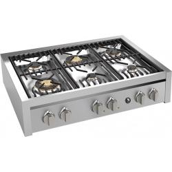Plita incorporabila cooktop STEEL Genesi, 90 cm , 6 arzatoare, aprindere electrica, siguranta gaz, inox