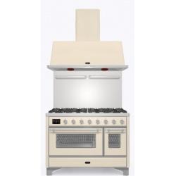 Set Aragaz ILVE Majestic M12N, 120x70cm, 6 arzatoare + placa Fry Top, cuptor dublu+Splash Back 120+Hota Ilve AM120, alb antic