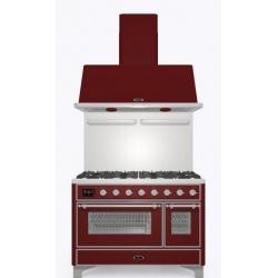 Set Aragaz ILVE Majestic M12N,120x70cm, 8 arzatoare, cuptor dublu+Splash Back120+Hota Ilve AM120, rosu