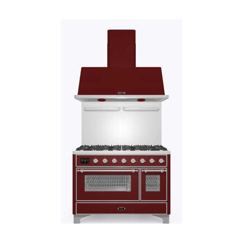 Set Aragaz ILVE Majestic M12N, 120x70cm, gaz, 7 arzatoare, cuptor dublu+Splash Back 120+Hota Ilve AM120, rosu