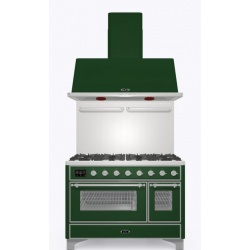 Set Aragaz ILVE Majestic M12N, 120x70cm, gaz, 7 arzatoare, cuptor dublu+Splash Back 120+Hota Ilve AM120, verde