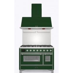Set Aragaz ILVE Majestic M12N, 120x70cm, 6 arzatoare + placa Fry Top, cuptor dublu+Splash Back 120+Hota Ilve AM120, verde