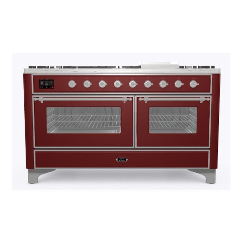 Aragaz ILVE Majestic M15N, 150x70cm,7 arzatoare+placa Fry Top, cuptor dublu,aprindere electronica,siguranta Stop Gaz, rosu