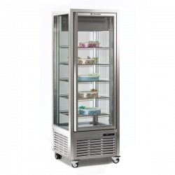 Vitrina frigorifica de cofetarie Tecfrigo DIVA 450 GS, 450 l, 1 zona temperatura +4°/+10°C, refrigerare statica, argintiu