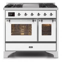 Aragaz ILVE Majestic MD10N, 100x70cm, 4 arzatoare+ Fry Top, cuptor dublu, aprindere electronica, siguranta gaz, alb