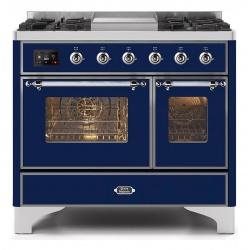 Aragaz ILVE Majestic MD10N, 100x70cm, 4 arzatoare+ Fry Top, cuptor dublu, aprindere electronica, siguranta gaz, albastru