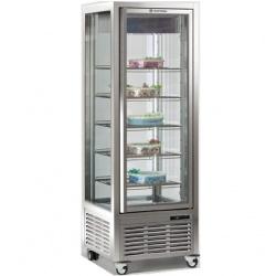 Vitrina frigorifica de cofetarie Tecfrigo DIVA 450 BTV BIS, capacitate 450 l, 1 zona temperatura +5/-18°C, argintiu