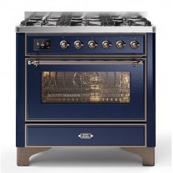 Aragaz ILVE Majestic M09N, 90x70cm, 6 arzatoare, cuptor electric, aprindere electronica, sigurante Stop-Gaz, albastru
