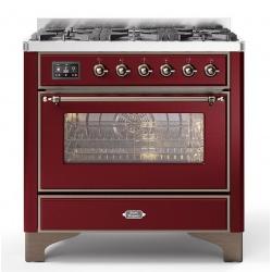 Aragaz ILVE Majestic M09N, 90x70cm, 4 arzatoare +Fry Top , cuptor electric, aprindere electronica, sigurante Stop-Gaz, rosu