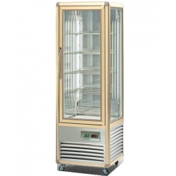Vitrina frigorifica de cofetarie Tecfrigo Snelle 350 BTV BIS, capacitate 350 l, temperatura +14/+16°C, argintiu/auriu