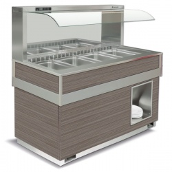 Vitrina frigorifica calda FUTURA MURALE 6, temperatura +4/+10C, lemn pin