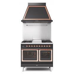 Set Aragaz ILVE Nostalgie PD10N, 100x60cm, gaz, 6 arzatoare, cuptor dublu+Splash Back 100+Hota Ilve ABN100, antracit
