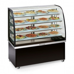 Vitrina frigorifica orizontala cofetarie Tecfrigo Brio 137 Hot, capacitate 450 l, temperatura +60/+80 ºC, argintiu/negru