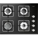Plita incorporabila Fulgor Milano, FCH 604 G BK, 60 cm, plita gaz, 4 arzatoare,sistem Stop-Gaz, butoane otel, sticla neagra
