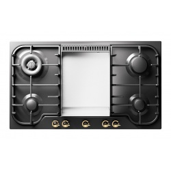 Plita incorporabila ILVE Nostalgie HCB90FN, 90 cm, 4 arzatoare+Fry Top, aprindere electronica, siguranta Stop-Gaz, negru mat