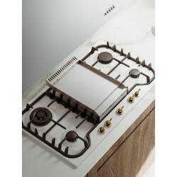 Plita incorporabila ILVE Nostalgie HCB90FN, 90 cm, 4 arzatoare+Fry Top, aprindere electronica, siguranta Stop-Gaz, alb
