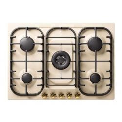 Plita incorporabila ILVE Nostalgie HCB70N, 70 cm, 5 arzatoare, aprindere electronica, siguranta Stop-Gaz, alb antic