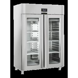 Vitrina frigorifica profesionala Cool Head QRG 14, cu 2 usi, capacitate 1105 L, temperatura +3°C/ +10°C , inox