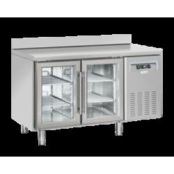 Masa rece cu usi din sticla si rebord Cool Head QRG 2200, 2 usi, capacitate 260 l, lungime 135 cm, temperatura +3°/ +10°C, inox