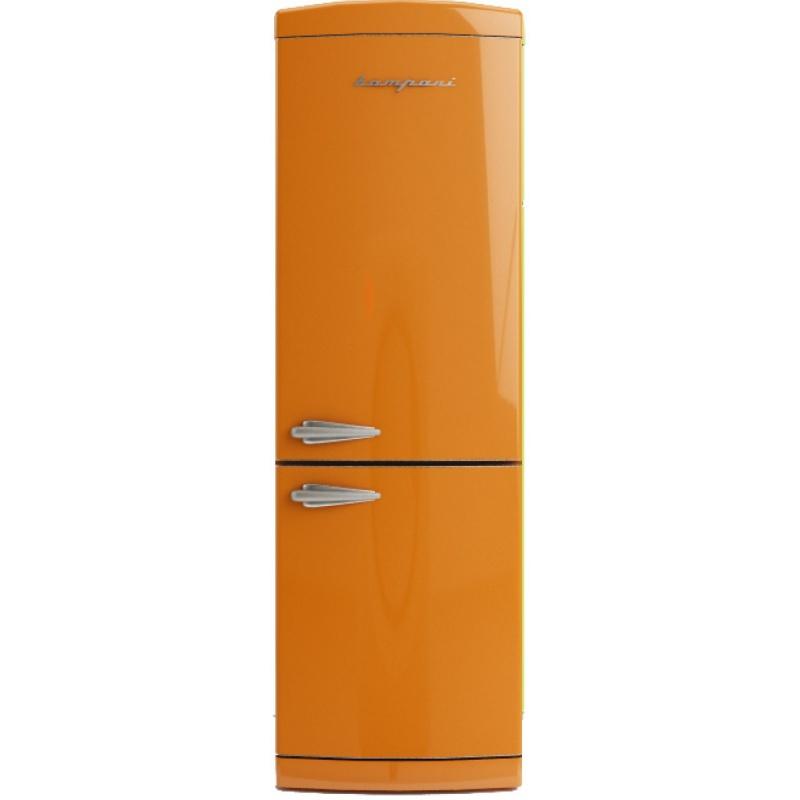 Combina frigorifica Retro Bompani BOCB660/A, Clasa A+, 316 litri, Latime 60 cm, Portocaliu