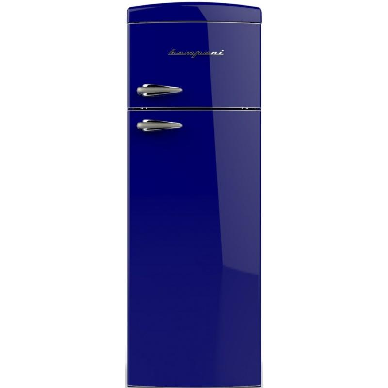 Frigider cu 2 usi Retro Bompani BODP268/B, Clasa A+, 315 litri, Latime 60 cm, Albastru