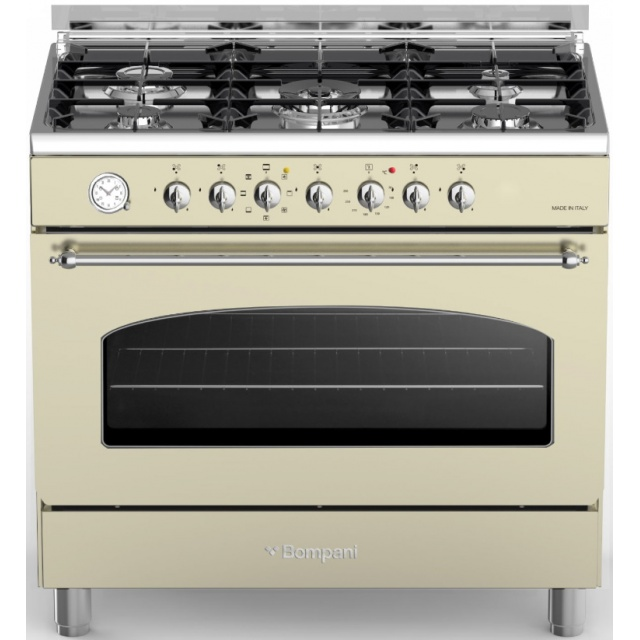 Aragaz Bompani Belle Epoque BO684MB/N, 90x60 cm, plita gaz, 5 arzatoare, aprindere electronica, grill, crem