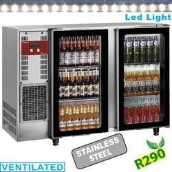 Vitrina frigorifica pentru bauturi Diamond TAVX/2G-R2 cu 2 usi de sticla termopan, capacitate 375 l, otel inoxidabil