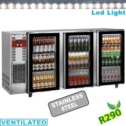 Vitrina frigorifica pentru bauturi Diamond TAVX/3G-R2 cu 3 usi de sticla termopan, capacitate 579 l, otel inoxidabil