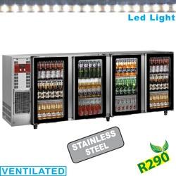 Frigider profesional pentru bauturi Diamond TAVT/2-R2 cu 2 usi, capacitate 375 l, negru