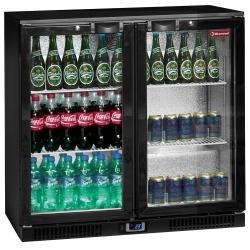 Vitrina frigorifica ventilata pentru bar Diamond TAB2/D-R6 cu 2 usi batante, capacitate 191 l, negru