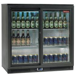 Vitrina frigorifica ventilata pentru bar Diamond TABS2/D-R6 cu 2 usi glisante, capacitate 191 l, negru