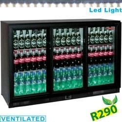 Vitrina frigorifica ventilata pentru bar Diamond TABS3/D-R2 cu 3 usi glisante, capacitate 300 l, negru