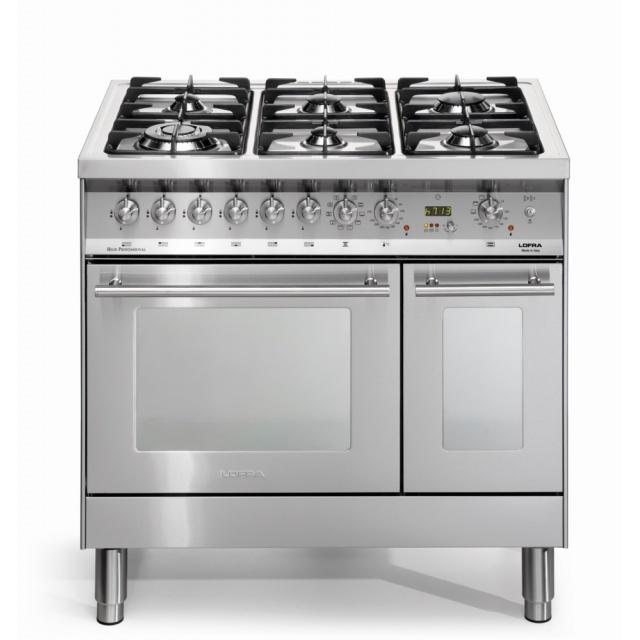 Aragaz Lofra Special 90 PD96MFTE/CISF, gaz, 90X60cm, 5 arzatoare, 2 cuptoare, grill electric, timer, inox