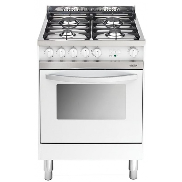 Aragaz Lofra Maxima MB66GV, 60x60 cm, gaz, 4 arzatoare, grill electric, timer, aprindere electronica,cuptor pe gaz, alb