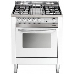 Aragaz Lofra Maxima MB75GV, 70x50 cm, gaz, 4 arzatoare, grill electric, timer, aprindere electronica,cuptor pe gaz, alb