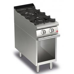 Aragaz profesional Baron Q70PCV / G4003, linia QUEEN7, compartiment deschis, 2 arzatoare, putere 10,5 kW, gratare fonta, inox
