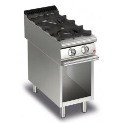 Aragaz profesional Baron Q90PCV/G4001, linia QUEEN9, compartiment deschis, 2 arzatoare, putere 10,5 kW, gratare fonta, inox