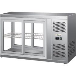 Vitrina frigorifica Forcar G-ER200GSS, capacitate 130 l, refrigerare statica, temperatura +2°C / +8°C, argintie