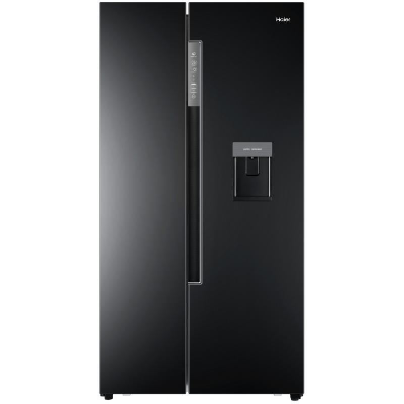 Side by Side Haier HRF-522IB6, 500 l, Clasa A+, No Frost, H 179 cm, Dispenser, Negru